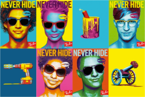 This ad takes note from Andy Warhol's use of Pop Art art and creates an eye catching image.